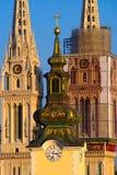 Barocka och gotiska Arhitecture, Zagreb, Kroatien Arkivbilder