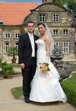 barocka par parkerar bröllop Royaltyfri Foto
