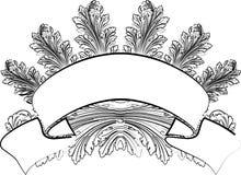 Barocke Blätter und Fahne in der Kalligraphie-Art. Lizenzfreies Stockbild