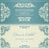 Barocke Einladung, Blau und Beige Lizenzfreies Stockbild