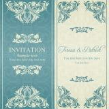 Barocke Einladung, Blau und Beige Lizenzfreie Stockfotografie