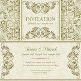 Barocke Einladung, Gold und Beige stock abbildung