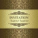 Barocke Einladung, Gold und Braun Stockbilder