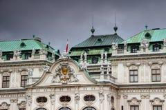 Barocke Fassade und Dach führen Belvedere-Palast Wien Österreich einzeln auf Stockfotografie