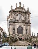 Barocke Fassadennahaufnahme Clerigos-Kirche in Porto, Portugal Lizenzfreie Stockfotografie