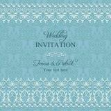 Barocke Hochzeitseinladung, blau Stockfoto