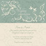 Barocke Hochzeitseinladung, -BLAU und -BEIGE Stockfoto