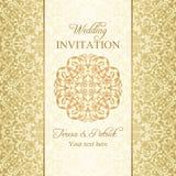 Barocke Hochzeitseinladung, Gold Lizenzfreies Stockfoto