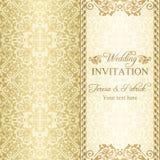 Barocke Hochzeitseinladung, Gold Stockfotografie