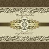 Barocke Hochzeitseinladung, Gold Stockfoto