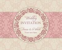 Barocke Hochzeitseinladung, -ROSA und -BEIGE Lizenzfreies Stockfoto