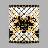 Barocke Mode-dekorativer Design-Poster, Luxusbroschüren, Verein-Partei-Flieger, abstrakter Renaissance-Hintergrund Lizenzfreie Stockfotografie