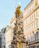 Barocke Pestsäule in Wien Stockbilder