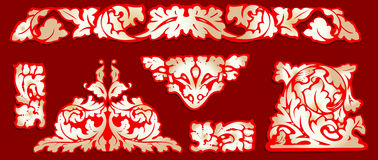 Barocke rote Goldc$clip-kunst. Stockfotografie