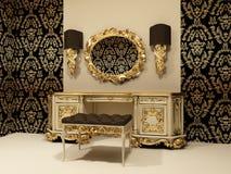 Barocke Tabelle mit Spiegel auf dem Tapete backgro Lizenzfreies Stockfoto