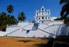 Barocken vår dam av honom kyrka för obefläckad befruktning i Panjim arkivfoton