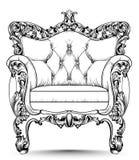 Barocker Luxuslehnsessel Möbel mit viktorianischem verziertem Dekor Realistische Designe des Vektors stock abbildung