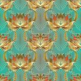 Barockes Blumen-nahtloses Muster 3d Vektor belaubtes aufwändiges backgrou Stockfoto