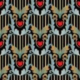 Barockes nahtloses Muster 3d der gestreiften Stickerei Weinlesevektor t lizenzfreie abbildung