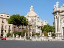 Barockkyrka av abbotskloster av den Sant agat - Catania - Sicilien, - sydliga Italien Royaltyfri Fotografi