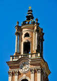 barockkyrkan smyckade kyrktornen Arkivfoto
