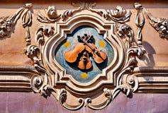 barockt detaljdatalisthus prague Arkivbild