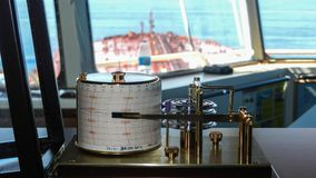 A barograph on the bridge of an oil tanker royalty free stock photo