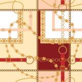 Barok łańcuchy i paski Wektorowy bezszwowy wzór dla druku, tkanina, szalik royalty ilustracja