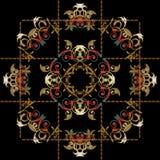 Barok bloemen het paneelpatroon van borduurwerkmandala Royalty-vrije Stock Afbeelding