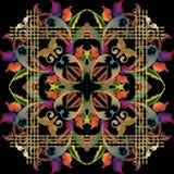 Barok bloemen het paneelpatroon van borduurwerkmandala Royalty-vrije Stock Afbeeldingen
