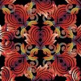 Barok borduurwerk naadloos patroon Bloemen vectorachtergrond wa Stock Afbeeldingen