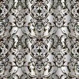 Barok damast vector naadloos patroon Bloemen zilveren achtergrond Stock Foto