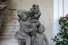 Barok engelenstandbeeld in Strahov-Klooster, Praag Royalty-vrije Stock Foto's
