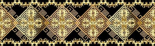 Barok gouden 3d grens naadloos patroon Antieke overladen backgrou vector illustratie