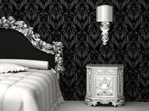 Barok meubilair in slaapkamer Stock Illustratie