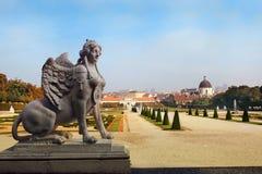 Barok park bij het Belvedere Kasteel in Wenen Royalty-vrije Stock Fotografie