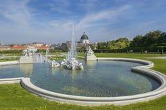 Barok park bij het Belvedere Kasteel in Wenen Royalty-vrije Stock Afbeelding