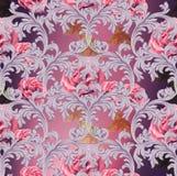 Barok patroon met roze bloemenvector Met de hand gemaakte luxeornamenten royalty-vrije illustratie