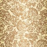 Barok patroon met vogels en bloemen, goud Stock Afbeeldingen