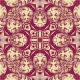 Barok stylowa kwiecista tapeta wektor bezszwowy wzoru Kwadratowa płytka royalty ilustracja