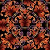 Barok tapijtwerk naadloos patroon Vector uitstekende achtergrond wal Royalty-vrije Stock Afbeelding