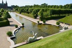Barok trädgård - Frederiksborg slott Arkivbild
