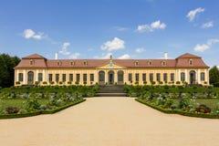 Barok tuin en Friedrich Palace Royalty-vrije Stock Fotografie