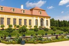 Barok tuin en Friedrich Palace Stock Fotografie
