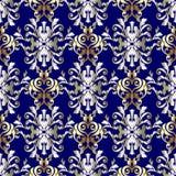 Barok vector naadloos patroon Blauwe gouden zilveren bloemenbackgro Stock Fotografie