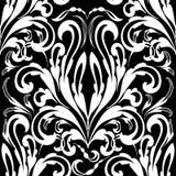 Barok zwart-wit naadloos patroon Vectordamastbackgrou Royalty-vrije Stock Afbeeldingen