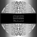 Barokke achtergrond met antiquiteit, luxe zilveren en grijs uitstekend kader, victorian banner, ornamenten van het damast de bloe royalty-vrije illustratie