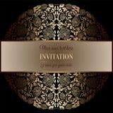 Barokke achtergrond met antiquiteit, luxe zwart en gouden uitstekend kader, victorian banner, ornamenten van het damast de bloeme vector illustratie