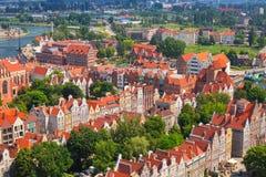 Barokke architectuur van oude stad in Gdansk Stock Foto