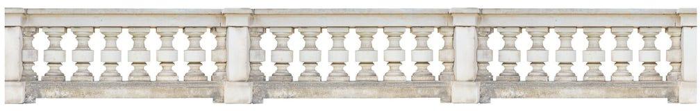 Barokke die balustrade op witte achtergrond wordt geïsoleerd stock afbeeldingen